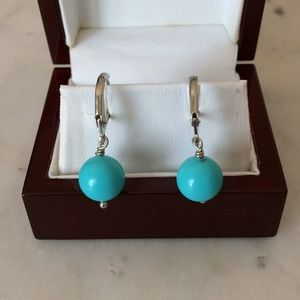 Turquoise Stone Ball Drop Earrings NWOT